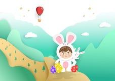 Jour de Pâques, enfants et affiche mignonne de bande dessinée de lapin, fond de style de coupe de papier, vecteur de carte de voe illustration stock