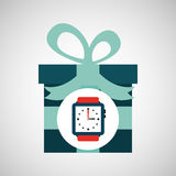 Jour de pères heureux avec la montre de cadeau Photos stock