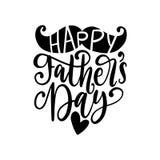 Jour de pères heureux, calligraphie de vecteur pour la carte de voeux, affiche de fête etc. Lettrage de main sur le fond blanc illustration libre de droits