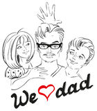 Jour de pères Nous aimons le papa Papa et portrait d'enfants Photos libres de droits