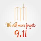 Jour de patriote, conception illustration 11 septembre commémoratif simple Image stock
