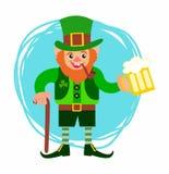 Jour de s de StPatrick ' gnome avec un tuyau et un verre de bière Illustration de Vecteur