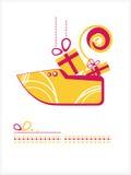 Jour de Saint-Nicolas. Chaussure avec des cadeaux illustration libre de droits