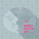 Jour de santé du monde caduceus Illustration de vecteur sur le gris illustration stock
