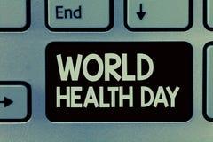 Jour de santé du monde d'écriture des textes d'écriture Le concept signifiant le jour global de conscience de santé a célébré cha photos libres de droits