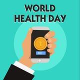 Jour de santé du monde des textes d'écriture de Word Le concept d'affaires pour le jour global de conscience de santé a célébré c illustration de vecteur