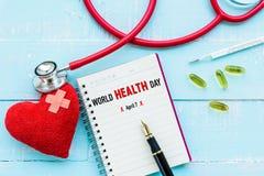 Jour de santé du monde, soins de santé et concept médical Image libre de droits