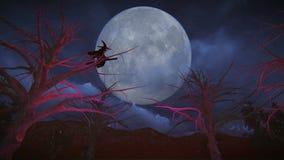 Jour de sorcière s'asseyante de sorcière sur un balai passant sur la pleine lune illustration stock