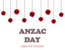 Jour de souvenir, Anzac Day, fond de jour de vétérans avec des pavots De peur que nous oubliions Images stock