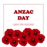 Jour de souvenir, Anzac Day, fond de jour de vétérans avec des pavots De peur que nous oubliions Photos stock