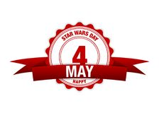 Jour de Star Wars 4 mai Vecteur de rouge de calendrier illustration libre de droits