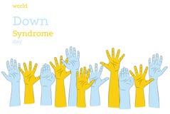 Jour de syndrome de Down du monde avec la conception bleue et jaune de banni?re de vecteur de signe de peinture de main et de sig illustration de vecteur