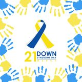 Jour de syndrome de Down du monde - 21 mars avec le signe bleu et jaune de ruban et la conception bleue et jaune de bannière de v illustration de vecteur