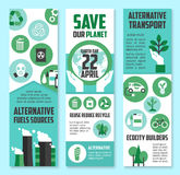 Jour de terre, ensemble de bannière de planète d'économies pour la conception d'eco Photos stock