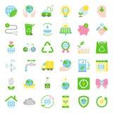 Jour de terre et icône plate d'écologie illustration stock