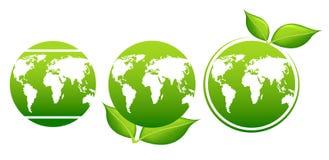 Jour de terre Feuilles de planète et de vert Images libres de droits
