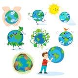 Jour de terre, garçon heureux étreignant la planète, concept d'écologie de l'amour la protection du monde, verte et bleue de glob illustration stock