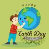 Jour de terre, garçon heureux étreignant la planète, concept d'écologie de l'amour la protection du monde, verte et bleue de glob illustration libre de droits