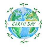 Jour de terre Globe avec la pousse d'arbre, illustration d'aquarelle illustration libre de droits