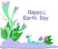 Jour de terre heureux avec les centrales et le ver de terre mignon illustration libre de droits