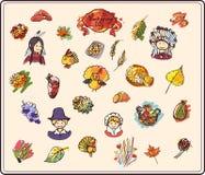 Jour de thanksgiving dans le style de croquis de couleur Images libres de droits