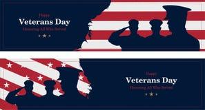 Jour de vétérans heureux Carte de voeux avec le drapeau, la carte et les soldats des Etats-Unis sur le fond Événement américain n illustration stock