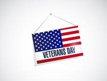 jour de vétérans nous illustration accrochante de drapeau Photos stock