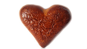 Jour de Valentine Coeur brun cuit au four frais de biscuit Photographie stock