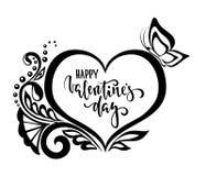Jour de Valentine heureux Calligraphie et lettrage tirés par la main de stylo de brosse fleurs de dentelle de coeur de silhouette Photo libre de droits