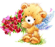 Jour de Valentine Ours de nounours drôle et coeur rouge Photo stock