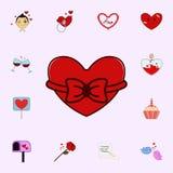 Jour de Valentine s, coeur, cadeau, rouge, icône de ruban Aimez l'ensemble universel d'icônes pour le Web et le mobile illustration stock