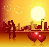 Jour de Valentine, scène urbaine, couple illustration stock
