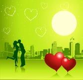 Jour de Valentine, scène urbaine, couple illustration de vecteur