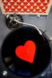 Jour de valentines avec le coeur et le disque vinyle Photo stock