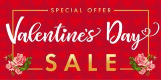 Jour de valentines de bannière de vente, fleur rose et coeur rouge Photographie stock libre de droits
