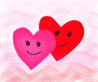 Jour de valentines, coeur de papier rose rouge de vague et sourire, fillin d'amour Photographie stock
