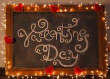 Jour de valentines d'inscription sur le tableau noir Photos libres de droits