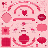 Jour de valentines de bannières et d'icônes de vecteur. Image libre de droits