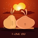 Jour de Valentines de carte postale avec des lapins Photos stock