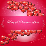 Jour de valentines de carte sur un fond rouge Images stock