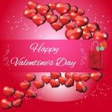 Jour de valentines de carte sur un fond rouge Images libres de droits