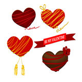 Jour de valentines de coeur de chocolat avec le ruban Image stock