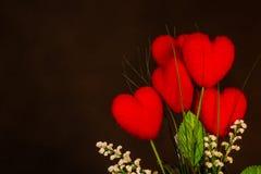 Jour de valentines de vintage avec la fleur de coeur Image libre de droits