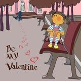 Jour de valentines, fille en parc Image libre de droits
