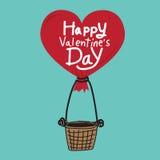 Jour de valentines heureux avec le ballon à air de coeur illustration libre de droits