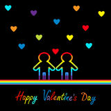 Jour de valentines heureux Carte d'amour Le symbole deux de fierté de mariage homosexuel contournent la ligne icône d'arc-en-ciel Photos libres de droits