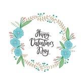 Jour de valentines heureux Carte de voeux de lettrage de main Calligraphie moderne Photographie stock libre de droits