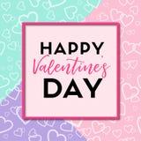 Jour de valentines heureux Carte de voeux de vecteur Photos libres de droits