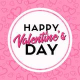 Jour de valentines heureux Carte de voeux de Vetor avec le lettrage Image stock