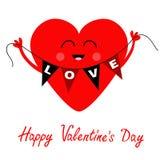 Jour de valentines heureux Coeur rouge tenant l'amour de drapeau d'étamine Mains, visage Caractère de sourire de kawaii mignon de Photographie stock